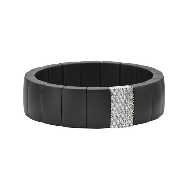 ONE RECTANGULAR MATT BLACK DIAMOND BRACELET. DOMINO COLLECTION