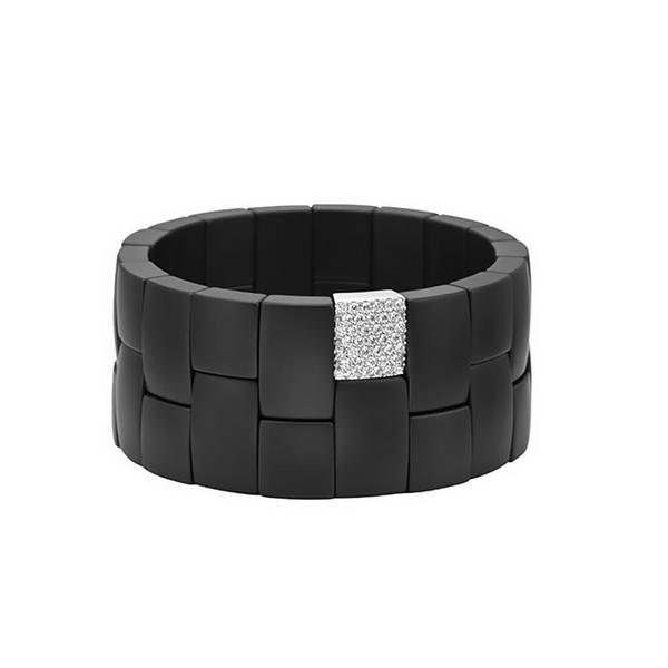 DOMINO COLLECTION 2 ROW MATT BLACK CERAMIC BRACELET