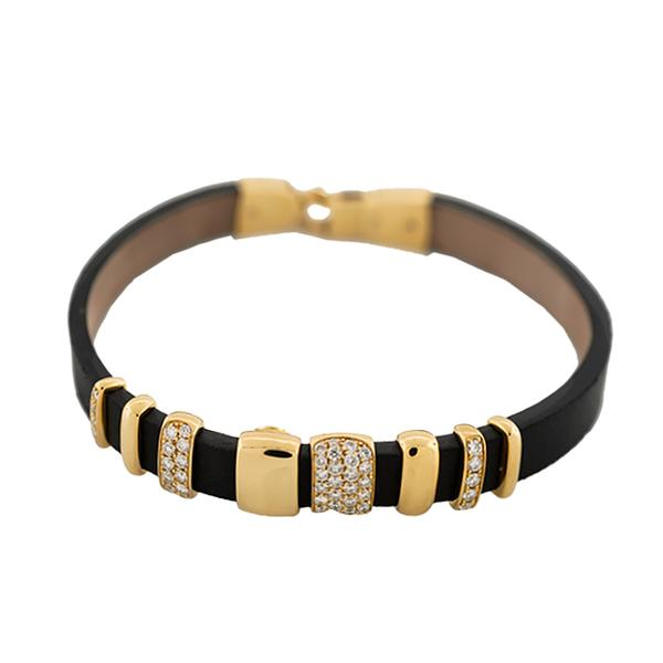 18KY 6MM BROWN LEATHER BRACELET WITH 4 ASSORTED HIGH POLISHED BARS AND FOUR PAVE' DIAMONDS