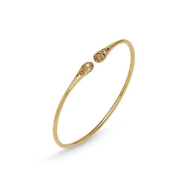 18KT. YELLOW GOLD CURVED END STACKING BRACELET