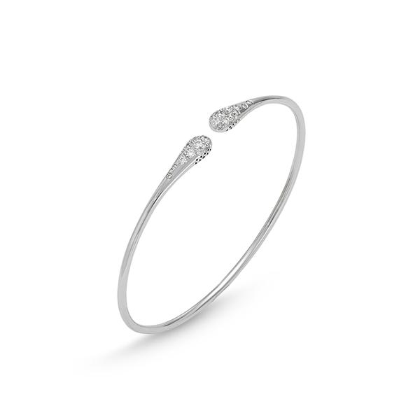 18KT. WHITE CURVED END DIAMOND STACKING BRACELET