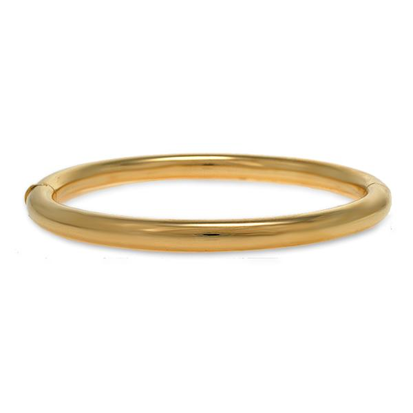 18k Yellow Gold Round Bangle 6mm