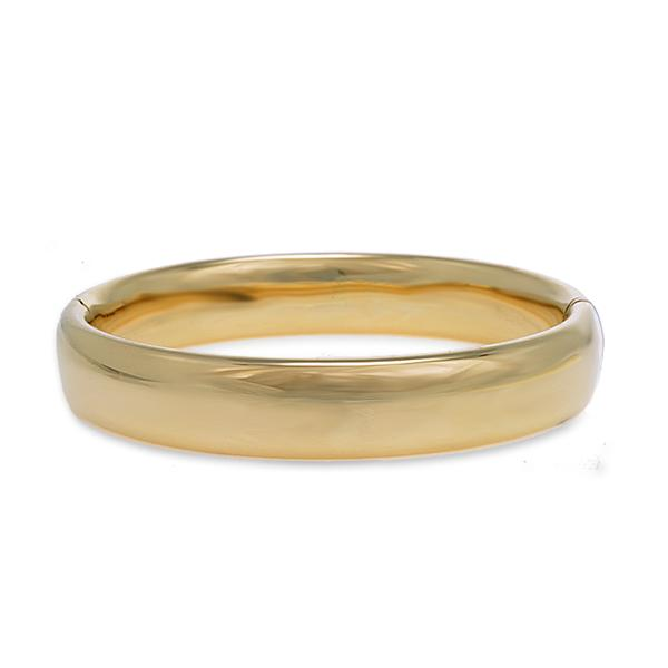 High Polished 18k Yellow Gold Bangle 12mm