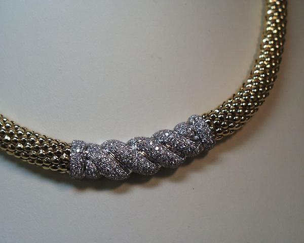 Pave Diamond and Gold Collar