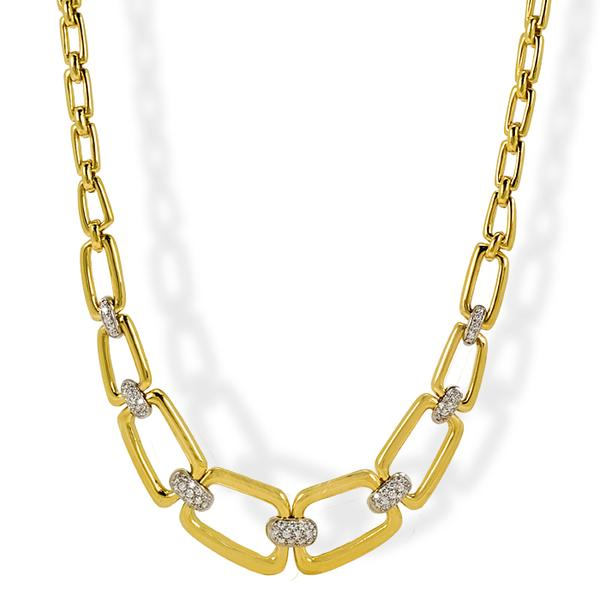 18k Yellow Gold and Diamond Contemporary Necklace