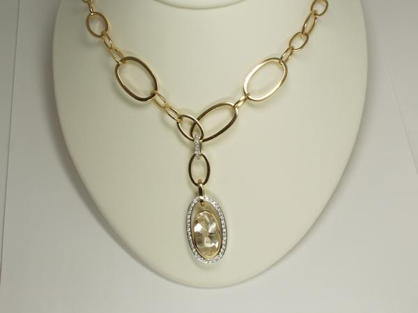 Tiated Quartz, Two-Toned Gold and Diamond Necklace