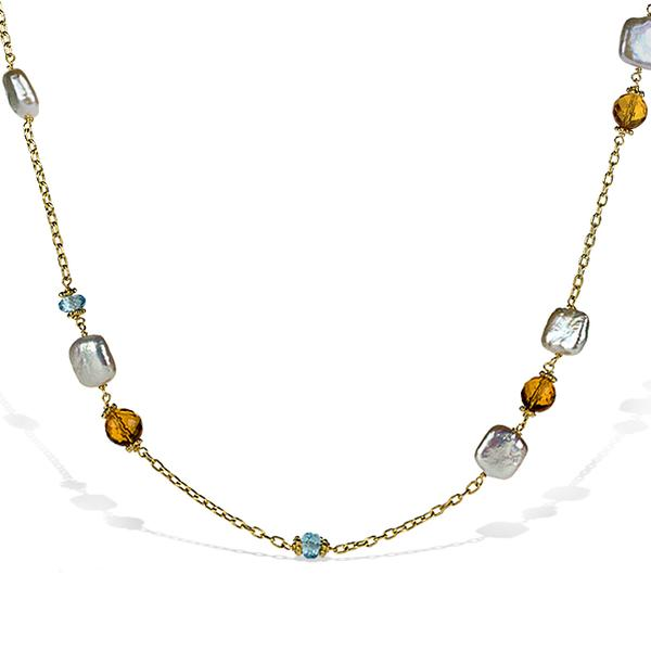 18k Yellow Gold Necklace w/ Citrine and Topaz