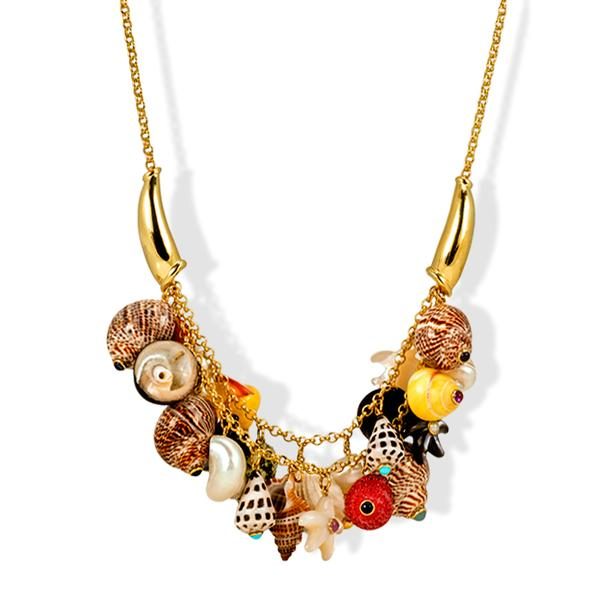 18k Yellow Gold Necklace w/ Assorted Shells and Stones