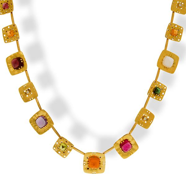 Alex Sepkus 18k Square Collection Multi-Stone Necklace