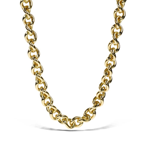 18k Pink Gold Twisted Link Necklace 17