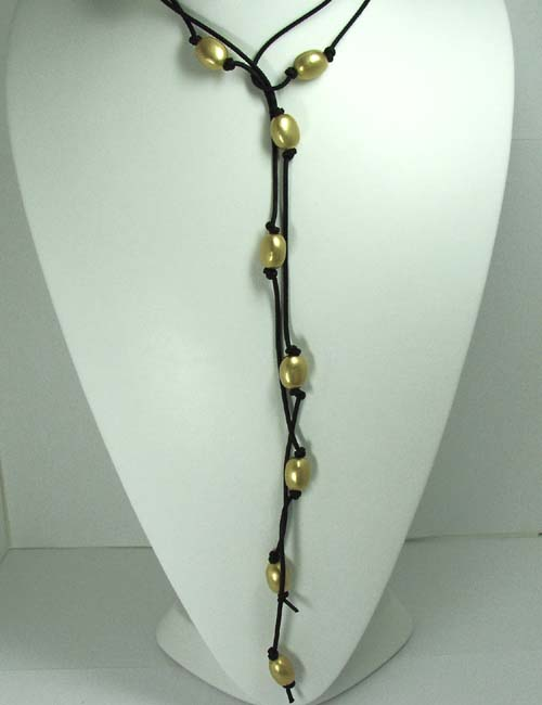 Nanis Leather Cord and Gold Bead Necklace