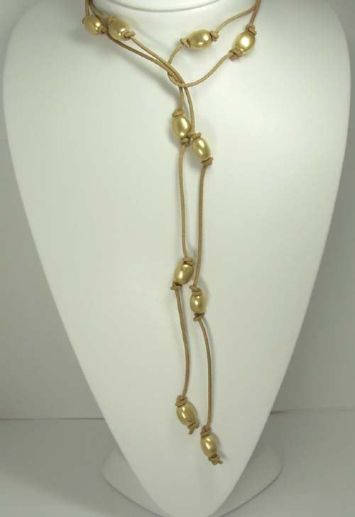 Nanis Leather and Gold Oval Bead Necklace