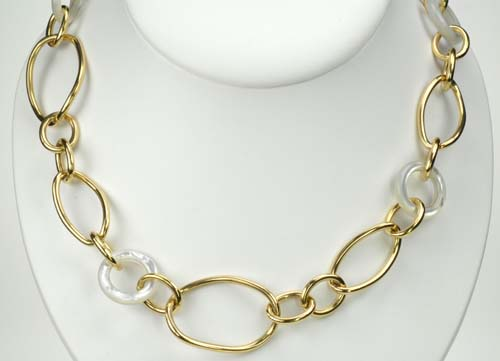 18k Yellow Gold and Mother of Pearl Link Necklace