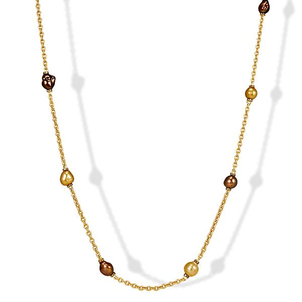Yvel 18k, South Sea Pearls and Cognac Diamond Necklace