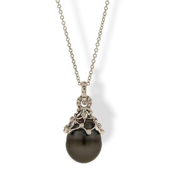 Di Go Black Pearl Drop Pendant with Diamonds