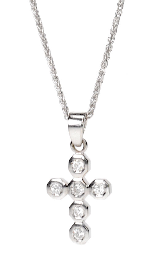 Diamond and White Gold Cross