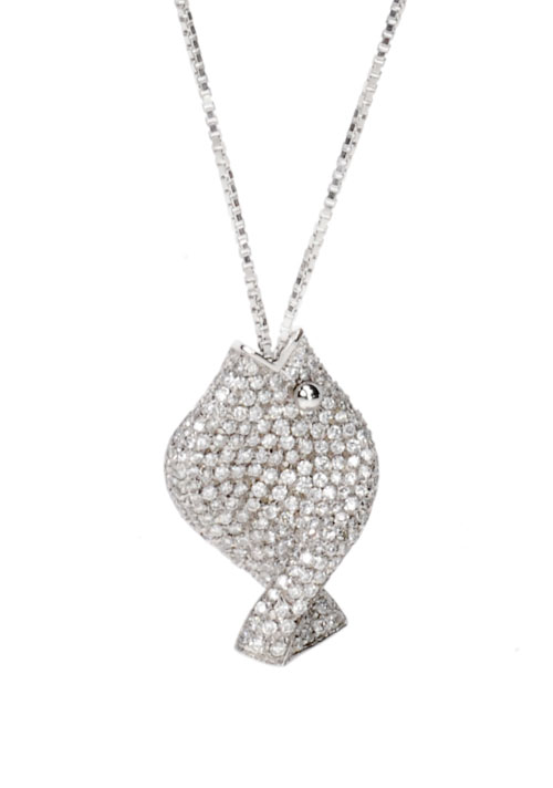 Pave Diamond Fish Pendant