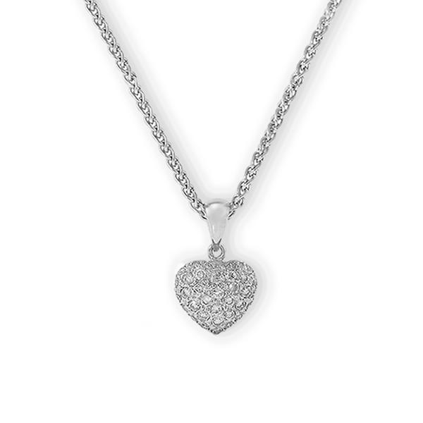 18k White Gold and Pave Heart