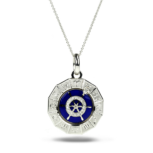 Zodiac Sailboat Pendant 18k, Enamel, and Diamond