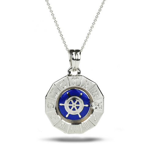 Zodiac Sailboat Pendant 18k, Enamel, Diamond