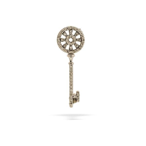 Wagonwheel Key Pendant 14k White Gold with Diamonds