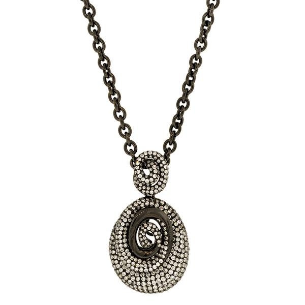 BLACKENED DIAMOND SPIRAL PENDANT