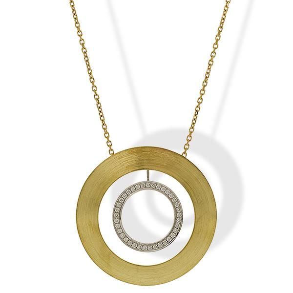 Sakamoto Two-Toned Circle Pendant w/ Diamonds