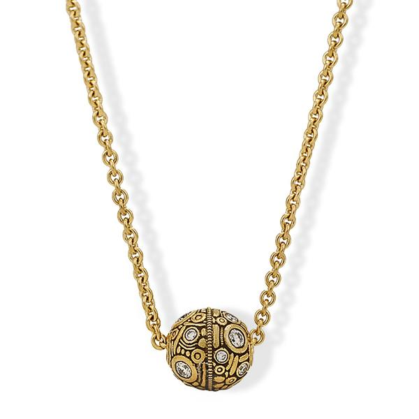 Alex Sepkus 18k Ball Pendant w/ Diamonds