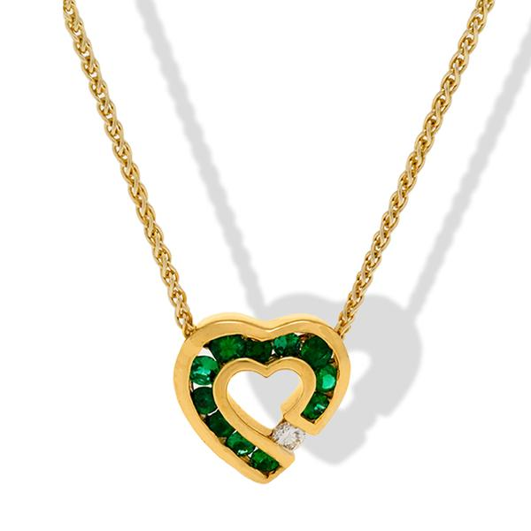 Charles Krypell Heart Pendant w/ Emeralds