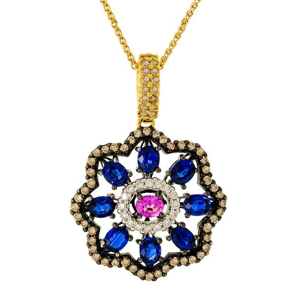Sapphire and Diamond Pendant with White Gold