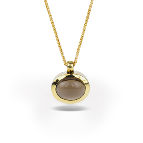 Smokey Quartz and 18k Yellow Gold Pendant