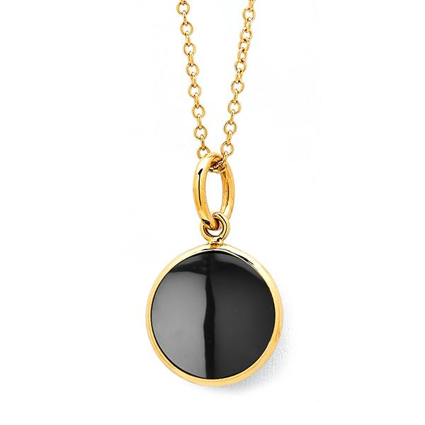 18KT. YELLOW GOLD BEZEL SET BLACK SPINEL PENDANT. 10MM