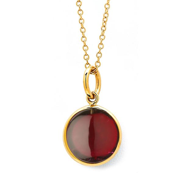 18KT. YELLOW RHODOLITE PENDANT DROP.