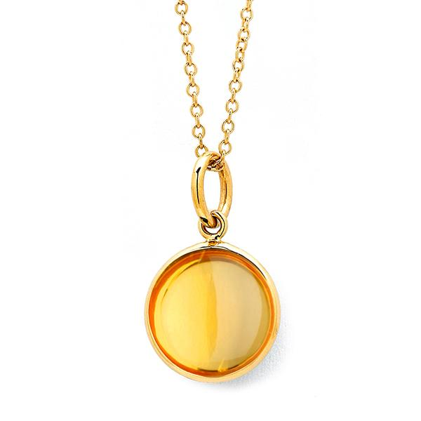18KT. Y ,10MM BEZEL SET CITRINE PENDANT