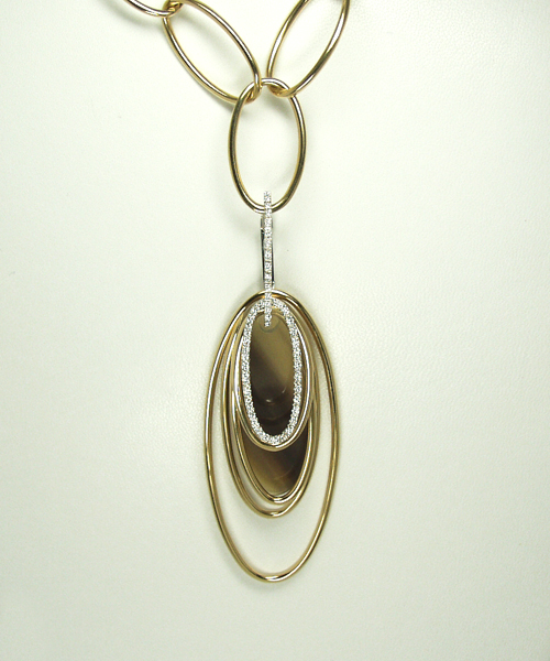 Palehorn Pendant with 18k 2-Tone Gold and Diamonds