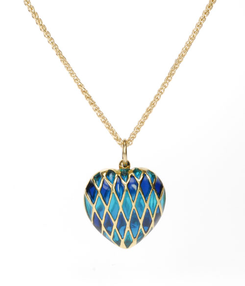 18k Yellow Gold and Enamel Heart