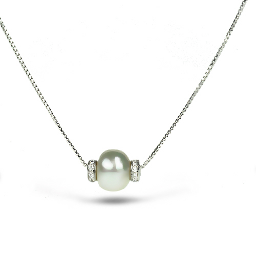 18k White Gold Chain w/ Pearl and Diamonds