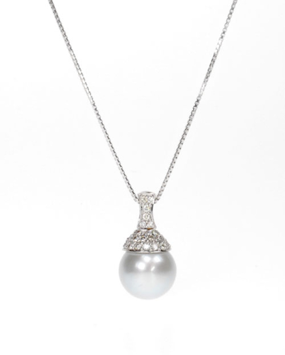 South Sea Pearl Pendant w/ Diamonds