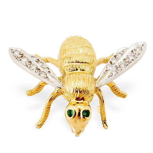 18k Bee Pin w/ Diamonds and Emeralds