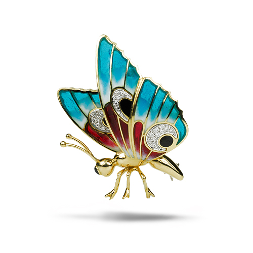 Butterfly Pin w/ 18k and Diamonds