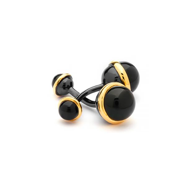 18KT/BLACKENED S/S BLACK STUDS